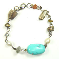 Assorted Natural Crystals, Pearl & Resin beads Bracelet