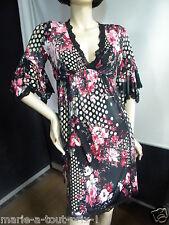 LADY LOL ROBE TUNIQUE PENNY 42/44 L T 3 noir à fleurs, très féminine sexy !!!
