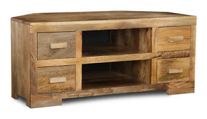 NATURAL DAKOTA MANGO CORNER TV UNIT (H13L)