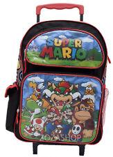 "Mario 16"" Large Roller Backpack Wheels backpack NEW Licensed"
