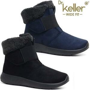 NEW LADIES WIDE FIT FAUX FUR GRIP SOLE WOMEN WINTER SNOW ANKLE BOOTS WEDGE SHOES