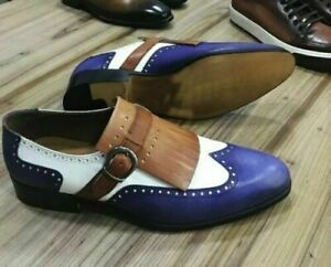 Handmade Men's Three Tone Wing Tip Brogue Fringes Monk Strap Dress Leather Shoes
