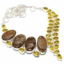 """Bronzite Jasper, Citrine Gemstone 925 Sterling Silver Necklace 18"""" HS"""