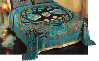 """Tree of Life ~ Eternity Tree Full Size Woven Tapestry Bedspread 80""""x90"""""""