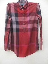 BURBERRY BRIT Womens  TAUPE Berry Red  SHIRT SIZE XS MSRP $ 325