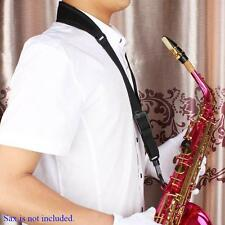 Adjustable Saxophone Sax Neck Strap Cotton Padded with Hook Clasp Black T5X1