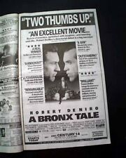 Best A BRONX TALE Film Movie Opening Day AD & Review 1993 Los Angeles Newspaper