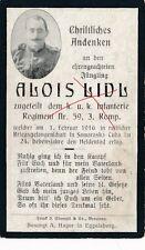 Nr 10695 Sterbebild deathcard K.u.K. Soldat IR59 1916 Samaraska Cuba Eggelsberg