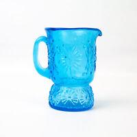 Vintage: 4inch Miniature Blue Daisy Flower Glass Pitcher