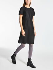 MAX MARA - Stretch wool canvas  Black A-Line Mod Shift Dress 14 US / L $475 NEW