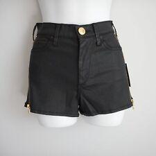 New $199 True Religion Black Cotton Elastane Ava High Rise Coated Shorts Size 23