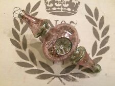 Glass rose pink/green vintage style Christmas tree GLASS BAUBLE decoration