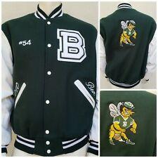 Holloway Green & White Wool Leather Letterman Varsity Jacket Mens Size Large
