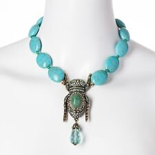 "Great ""Sparking Scarab"" Turquoise Necklace by Heidi Daus - MSRP $259.95"