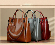 Women's Genuine Cowhide Leather Handbag Shoulder Bag Tote Crossbody Bag Large