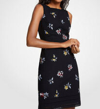 ANN TAYLOR EMBROIDERED FLORAL EYELET SHEATH DRESS IN BLACK SIZE 2