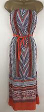 Primark Summer Dress Strapless Boobtube Orange Blue Aztec Maxi Size 10