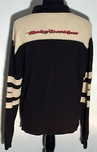 Harley-Davidson Motorcycles Brand Embroidered Large Black Long Sleeve Polo Shirt
