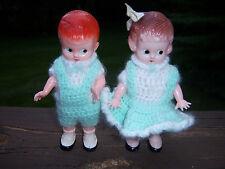 Htf Adorable Vtg knickerbocker doll rattles boy and girl Crochet Outfits