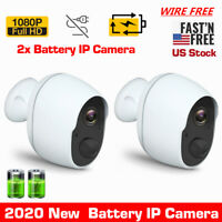 US 2x 1080P Wireless Outdoor Security IP Camera Rechargeable Battery WiFi IR Cam