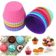 12 Pcs Silicone Cake Muffin Cupcake Mold Round Baking Mould Bakeware Tray Kits
