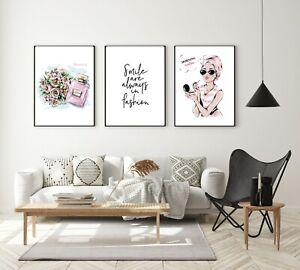 Set of 3 Wall Art Prints Girls Room Bedroom Salon Poster Pink Perfume Decor Home