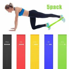 Gym Resistance Bands Set of 5 Loop Latex Exercise Keep Fit Physio Fitness Yoga