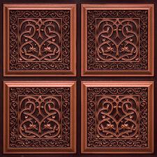 # 231 (Lot of 12) - Antique Copper PVC Faux Tin Decorative Ceiling Tile Glue-Up