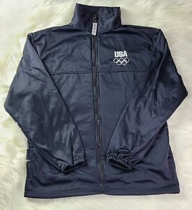 United States Olympic Committee Team USA Size Large Full Zip Up Black Jacket