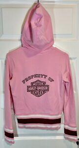 Harley Davidson Pink Women's Hoodie Sweatshirt Full Zip Long Sleeve Size Small