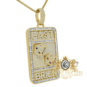 Baguette 14K Yellow Gold On Real Silver Diamond FAST BRICH Dog Tag Pendent Charm