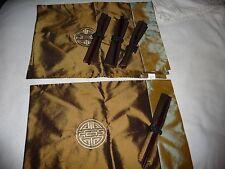 vtg Lot 4 Olive fabric Asian design Placemats w napkins & rings & chop sticks