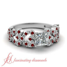 3/4 Carat Princess Cut Diamond And Ruby Gemstone Heart Design Engagement Rings