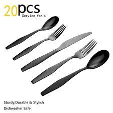 NEW Lorena Flatware ROALD 20-piece Silverware Set - Black 20pc Service for 4