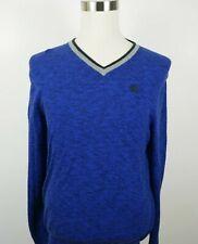 Express Mens Cotton Long Sleeve V Neck Heather Royal Blue Sweater Large