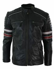 Mens Black Racing Biker Jacket Red White Stripes Real Leather Casual Fit
