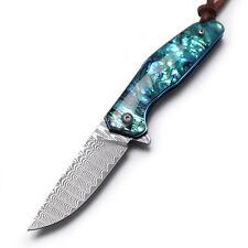 Natural Abalone Handle Damascus Blade Pocket Folding Knife