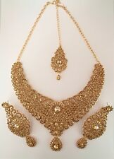 Indian Bollywood Antique Gold Crystal Jewellery set Necklace, Earring, Tikka
