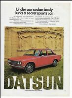 Red DATSUN 510 2-Door Sedan Vintage 1972 Print Ad ~ Secret Sports Car!!