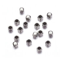 200pcs 304 Stainless Steel Crimp End Beads Square Smooth Tiny Findings 2.5mm DIA