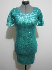 """Sequins Evening Cocktail Bodycon """"NWT""""DRESS Sz 6 Green Teal Party BACKSTAGE"""