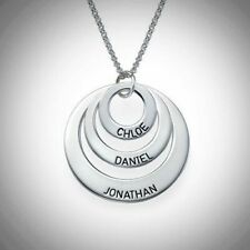 Disc Engraved Name Necklace Personalised Sterling Silver Three