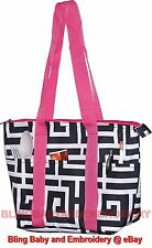 Lunch Bag Tote Purse Insulated Greek Key Black Grey Pink