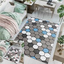 Children Rug Blue & Pink Geometric Hexagon Pattern Bedroom Mat Girls Boys Rugs