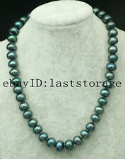 """freshwater pearl peacock black roundel 11-13mm necklace 18"""" wholesale beads"""