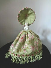 Vintage Porcelain Cabinet Half Doll  Figurine W/ Canopy Embroidered Floral Gown