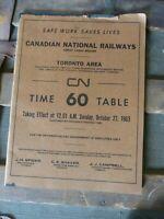 1963 Canadian National Railways  Employee's Time Table  Toronto Area