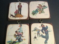 "Norman Rockwell Plaques (4) 7"" x 7"" Assorted designs Limited Edition Numbered"