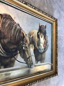"""Wandbild Gemälde """"Pferde an der Tränke"""" signiert mit Bilderrahmen Gold - Kunst"""