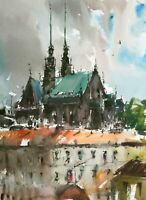 Landscape Painting Watercolor Original Brno Cathedral Architecture Prague 15x11i